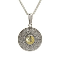 Image for Sterling Silver and 18K Gold Celtic Warrior Round Pendant, Medium