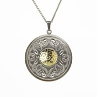 Image for Sterling Silver and 18K Gold Celtic Warrior Round Pendant, Large