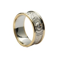 Image for Celtic Warrior Shield 14K White and Yellow Gold Trim Diamond 9mm Band