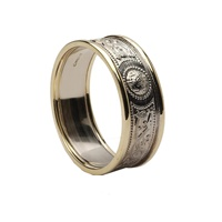Image for Celtic Warrior Shield 14K White Gold Wedding 7mm Band with Yellow Gold Trims