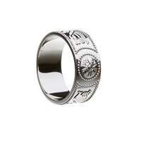 Image for Celtic Warrior Shield 14K White Gold Extra Wide 9mm Band