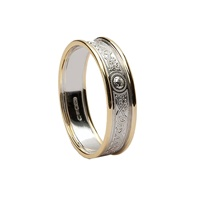 Image for Celtic Warrior Shield 14K White Gold with Yellow Gold Trims 5mm Band