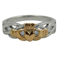 Image for White and Rose Gold Diamond Claddagh Celtic Weave Ring