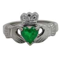 Image for 14K White Gold Emerald Claddagh Ring