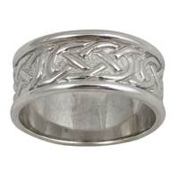 Image for Ladies 14K Yellow Gold and Sterling Silver Sheelin Wide White Celtic Band with Edges