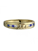 Image for Yellow Gold Genuine Sapphire and CZ Claddagh  Ring