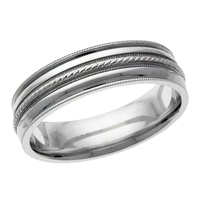Image for Braided Center 10kt Gold Band with Rails