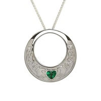 Image for Claddagh Pendant with Green & Clear CZ Stones