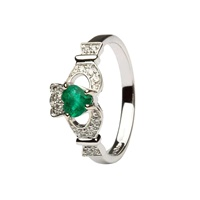 Image for Ladies 14K White Gold Claddagh With Emerald And Diamond