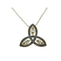 Image for 10K Yellow Gold and Sterling Silver CZ Trinity Knot Pendant- Small