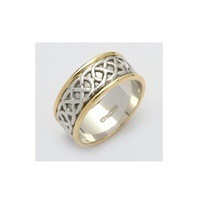 Image for Ladies 14K Two-Tone Gold Sheelin Wide White Celtic Band with Edges