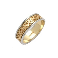 Image for Ladies Sheelin 14K Two-Tone Gold Narrow Celtic Band with Edges