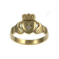 Image for Mens Yellow Gold Diamond Claddagh
