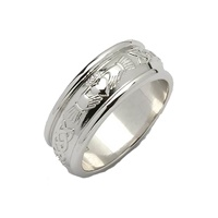 Image for Mens 14K White Gold Wide Corrib Claddagh Wedding Band