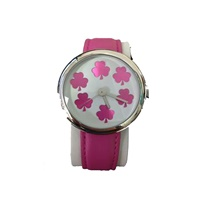 Image for Shamrock Pink Leather Band Watch