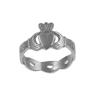 Image for Sterling Silver Celtic Band Claddagh Ring