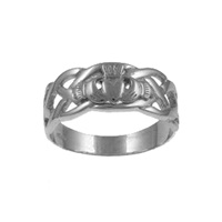 Image for Facet Sterling Silver Celtic Weave Claddagh Ring
