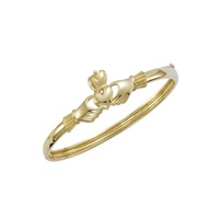 Image for 14K Solid Yellow Gold Claddagh Bangle