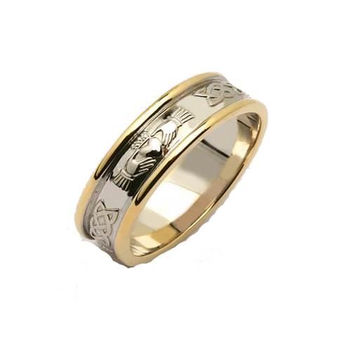 Mens 14K Two Tone Corrib Claddagh Wedding Ring Tipperary Irish