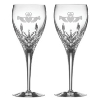 Image for Galway Irish Claddagh Friendship Large  Wine Glass Pair