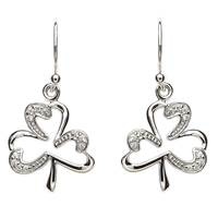 Image for Pave Set Sterling Silver Shamrock Earrings