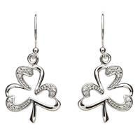 Image for Pave Set Sterling Silver Shamrock Earrings