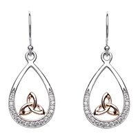 Image for Sterling Silver Rose Gold Trinity Kno CZ Earrings