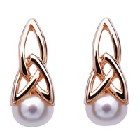 Image for Sterling Silver Rose Gold Trinity Knot Pearl Earrings