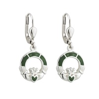 Image for Sterling Silver Claddagh Earrings with Connemara Marble