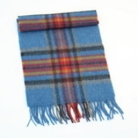 Image for Extra Long Lambswool Scarf - Blue, Red, Yellow and Black