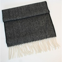 Image for Extra Long Lambswool Scarf - Black and White Herringbone