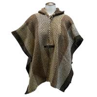 Branigan Weavers Hooded Ruana,  Herringbone Multi Beige