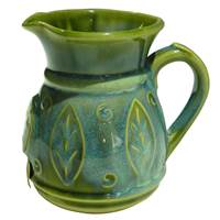 Image for Colm De Ris Irish Pottery Leaf Jug Green(C4)