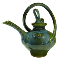 Image for Colm De Ris Irish Pottery,Spiral Tea Pot Green