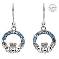 Image for Sterling Silver Claddagh Earrings Embellished With Swarovski Crystals