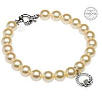 Image for Sterling Silver Claddagh Pearl Bracelet Adorned With Swarovski Crystals