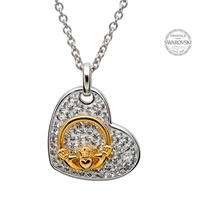 Image for Claddagh Heart Pendant Encrusted With Swarovski Crystals