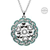 Image for Shanore Shamrock Heart Silver Pendant Encrusted With Swarovski Crystals