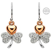 Image for Gold Plated Shamrock Earrings Encrusted With Swarovski Crystals