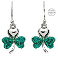 Image for Shanore Shamrock Earrings Encrusted With Swarovski Crystals