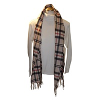 Image for 100% Brushed Merino Scarf - Cream, Black, Red Window Check Scarf