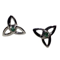 Image for Trinity Knot Stone Set Post Earrings, Sterling Silver