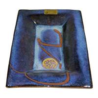 Image for Colm De Ris Irish Pottery, Rectangular Plate Small Blue (D1)