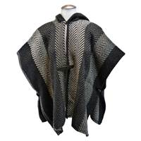 Branigan Weavers Hooded Ruana, Grey Herringbone