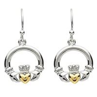 Image for Platinum Plated Claddagh Earrings
