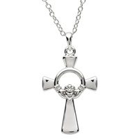 Image for Platinum Plated Claddagh Necklace