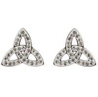 Image for Trinity Knot Stud Earrings Adorned with Swarovski Crystals