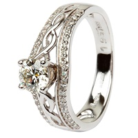 Image for 14k White Gold Halo Diamond Celtic Ring