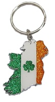Image for Map Ireland inTricolour Glitter Keyring