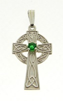 Image for Sterling Slilver Celtic Cross with Emerald